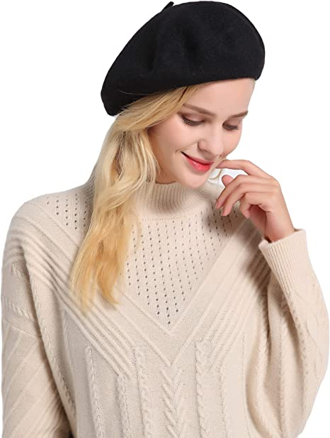 Emmalise French Style Beret Hats for Women Lightweight 100/% Wool Classic Fit