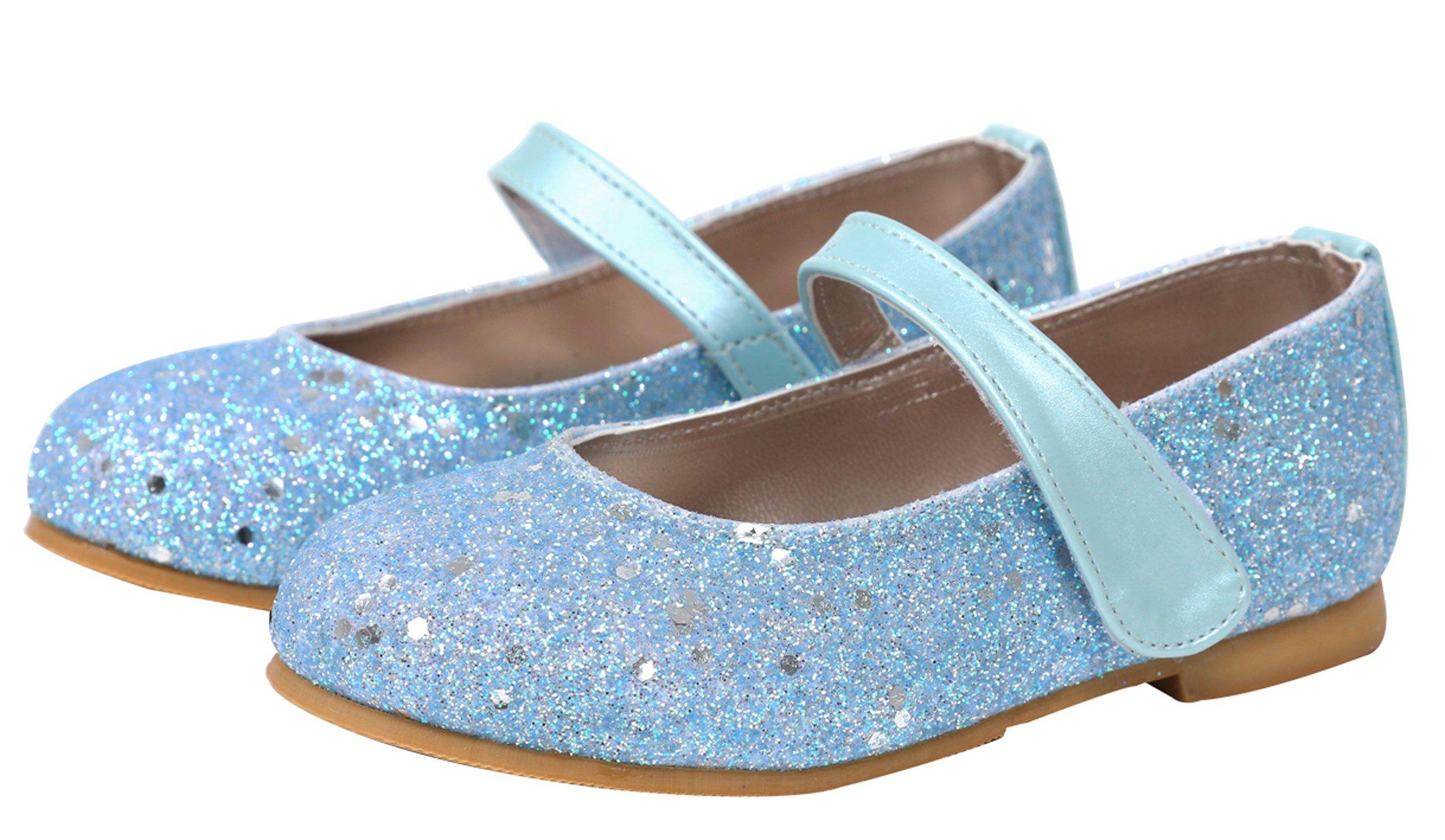 Ozkiz Little Girls Ballet Flats Princess Bridesmaid Wedding Party School Mary Janes Shoes Sky 10M