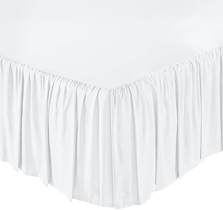 AmazonBasics Ruffled Bed Skirt - King, Bright White