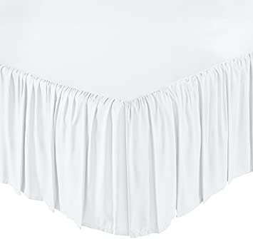 AmazonBasics Ruffled Bed Skirt - King, Bright White