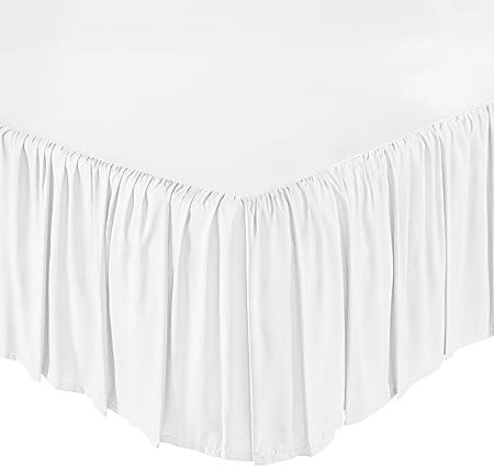 AmazonBasics Ruffled Bed Skirt - Full, Bright White