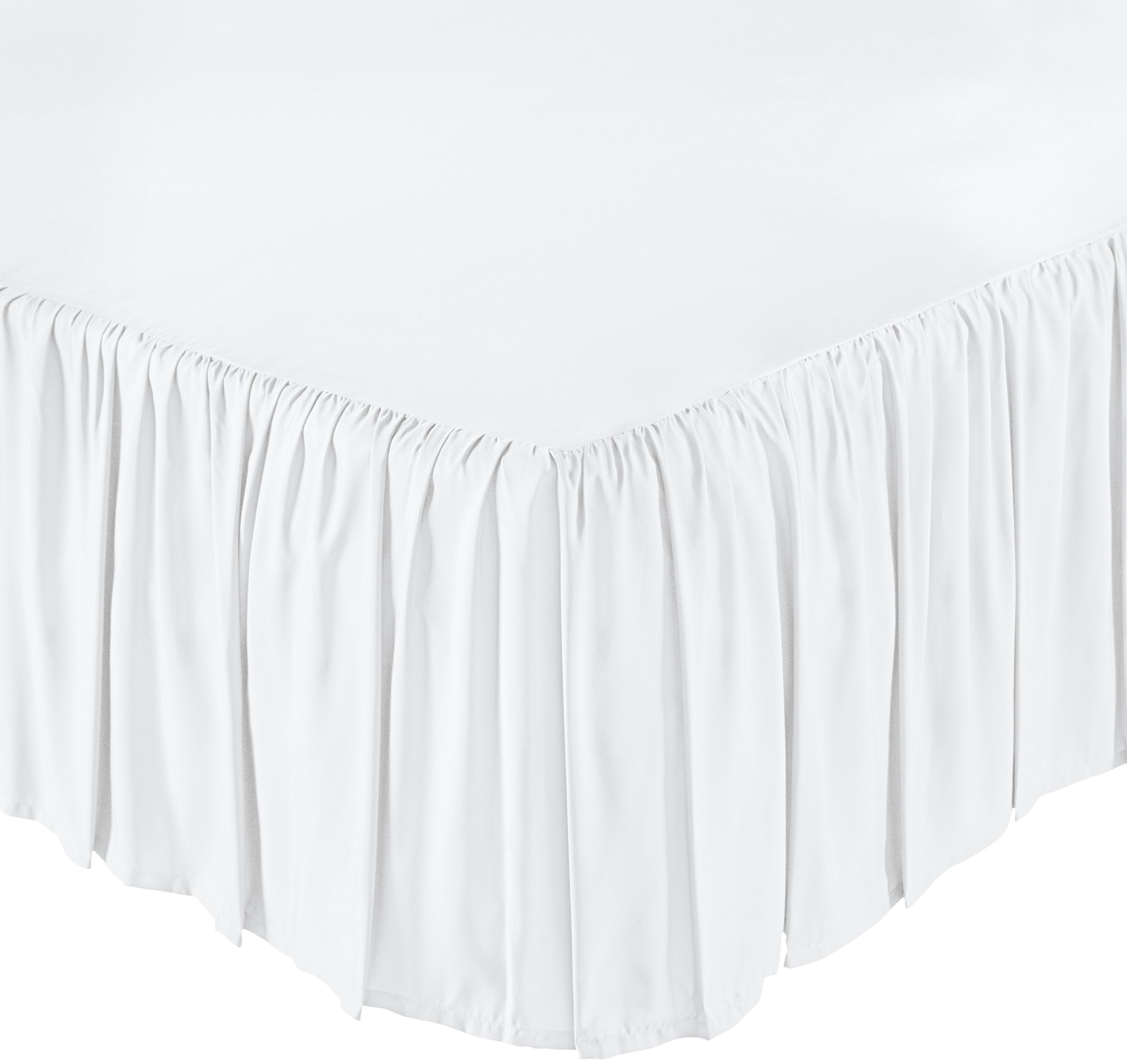 AmazonBasics Ruffled Bed Skirt - Full, Bright White by AmazonBasics