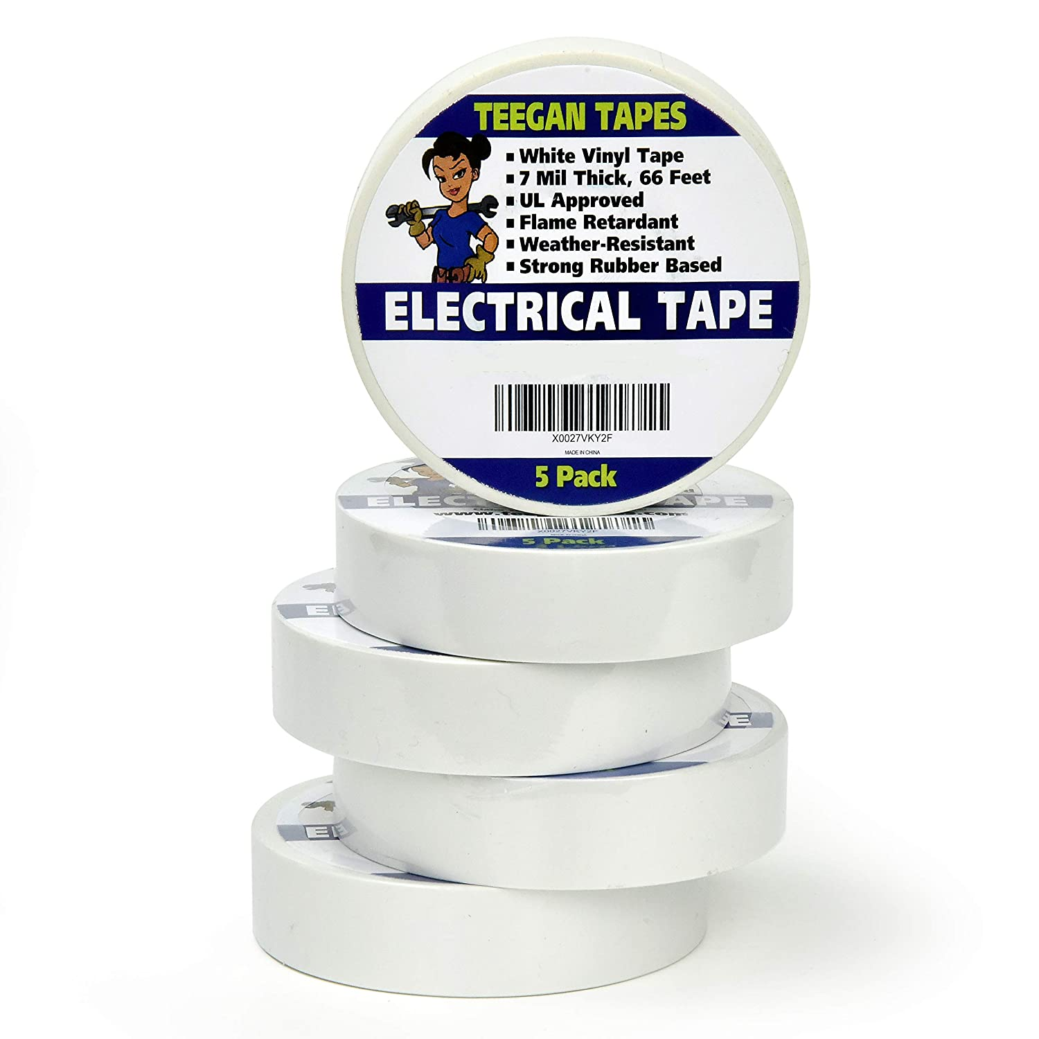 White Electrical Tape - Vinyl Electric Tape (5 Pack) | 7 mil Thick Vinyl Tape 3/4 Inch Wide 66 Foot Long Roll | Strong Rubber Base | Flame Retardant, Temperature & Weather Resistant (White)