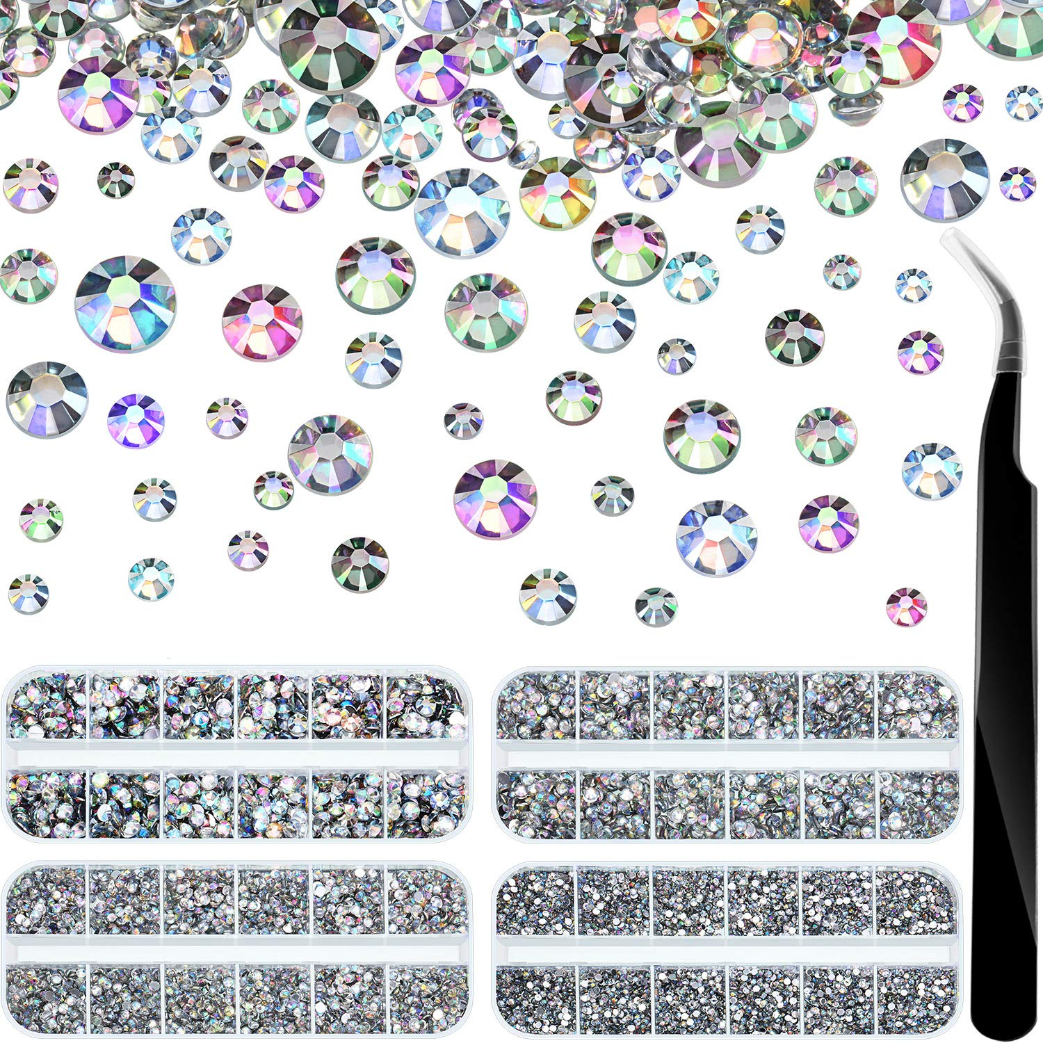 Pangda 9000 Pieces 4 Size Nail Art Rhinestones Set with 4 Boxes Nail Gems and Pick up Tweezer (AB Clear)