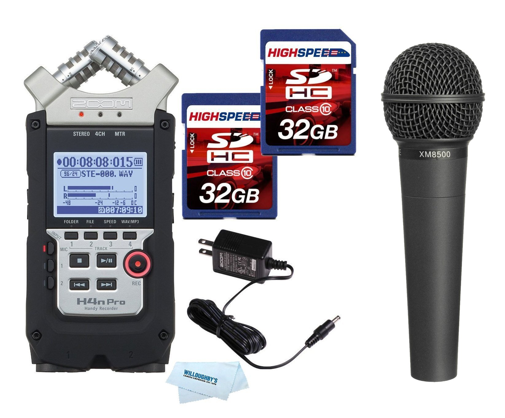 Zoom H4N PRO Digital Multitrack Recorder (2016 Version) + Zoom AD-14A/D Power Supply Adapter + Dynamic Cardioid Microphone + (2x) 32GB Memory Cards by Zoom