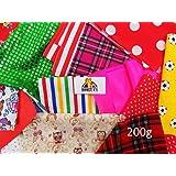 200g Fabric Scrap Bag Harumika Doll Hobby Cardmaking Various Craft Mixed Pieces
