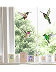 4 Beautiful Humming Bird Static Cling Window Stickers - Hummingbird Anti Collision Bird Strike Window Stickers - UNIQUE Double Sided Print