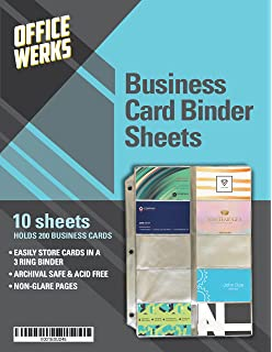 business card sheet protectors for 3 ring binder 10 pack 85 x 11 - Business Card Binder