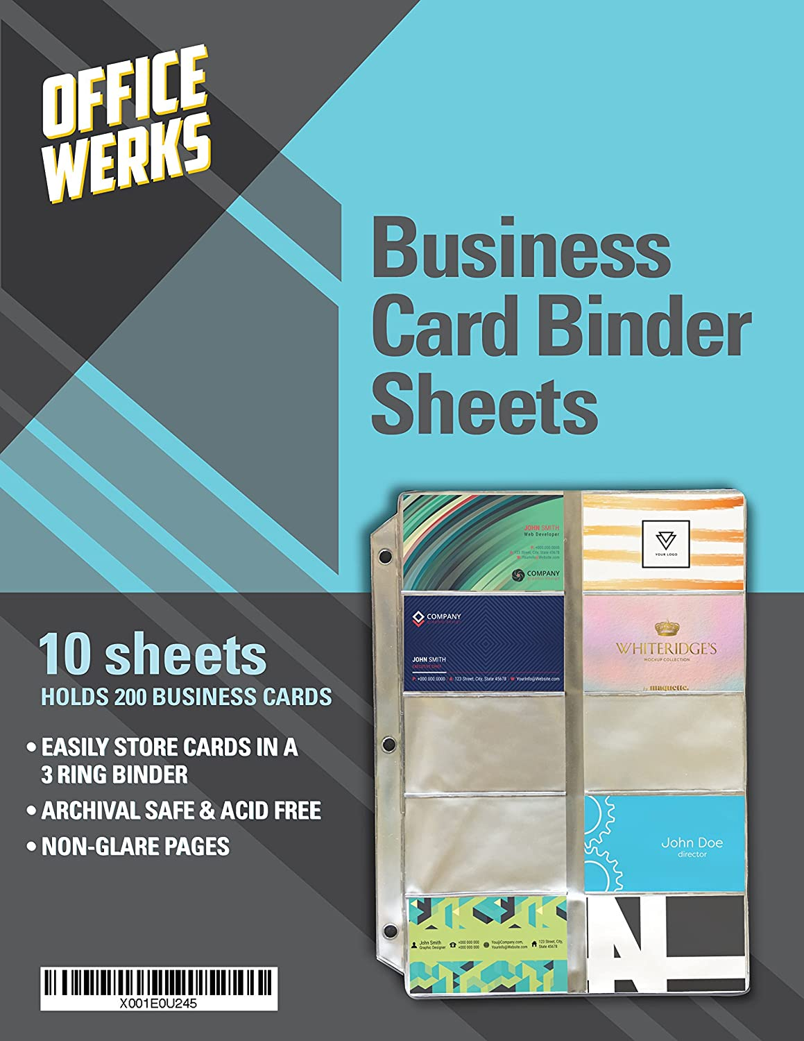 Amazon.com : Business Card Sheet Protectors for 3 Ring Binder, 10 ...