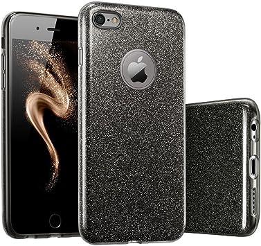 "Image ofCoovertify Funda Purpurina Brillante Negra iPhone 6/6S, Carcasa Resistente de Gel Silicona con Brillo Negro para Apple iPhone 6 6S (4,7"")"
