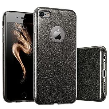 Coovertify Funda Purpurina Brillante Negra iPhone 6/6S Plus, Carcasa resistente de gel silicona con brillo negro para Apple iPhone 6 6S Plus (5,5
