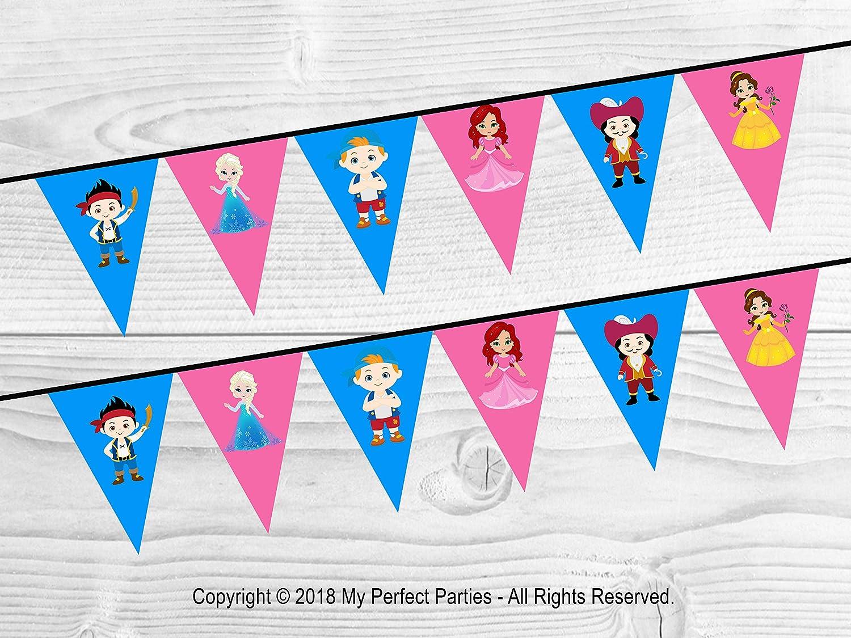 Princess and Superhero Birthday Party Happy Birthday Banner Decoration Bunting