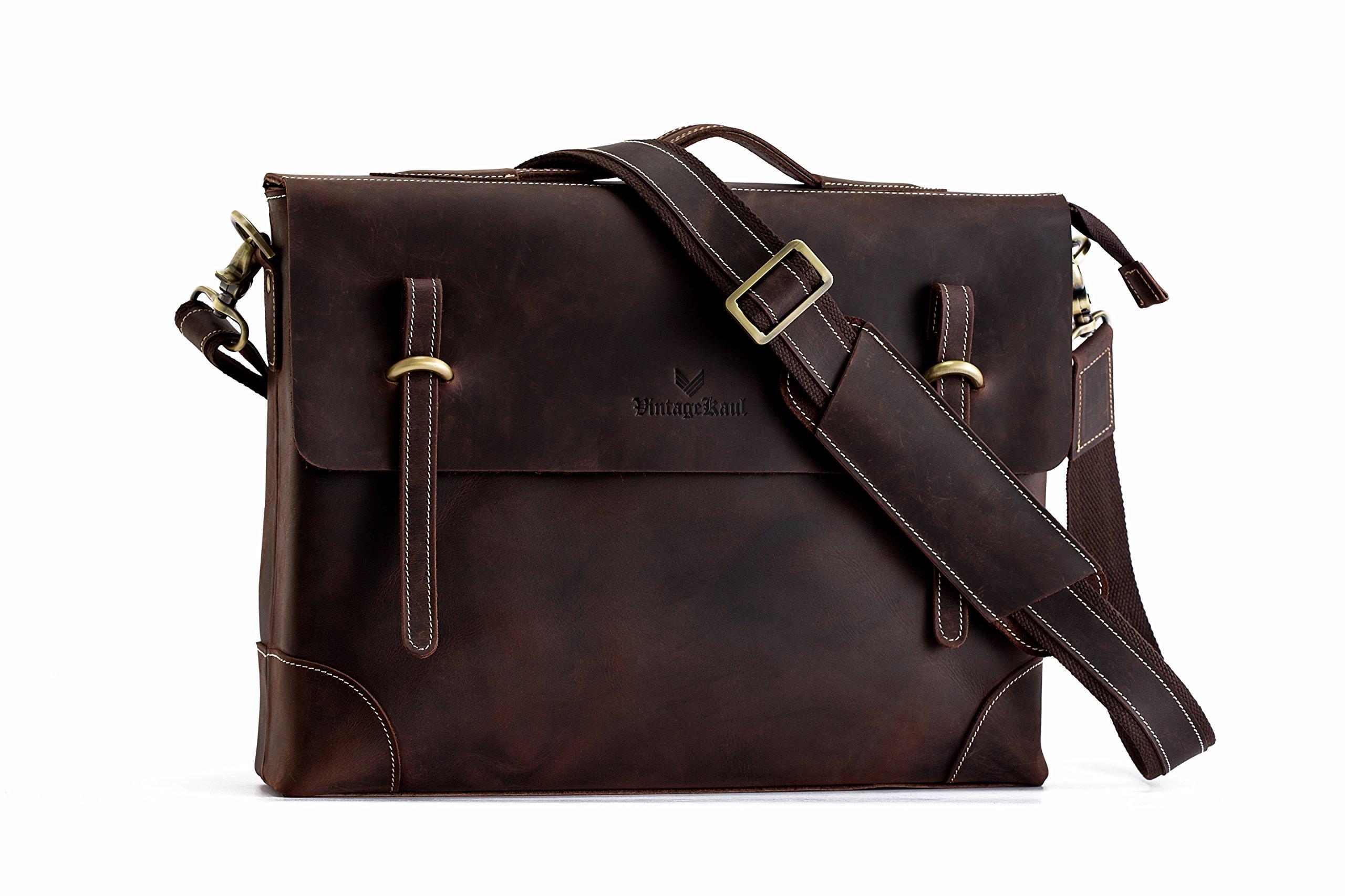Men's Leather Messenger Bag   15inch 100% Italian Crazy Horse Leather Laptop Shoulder Briefcase   Imported Genuine Italian Leather Crossbody Satchel   Tote Bag   Computer bag   Retro Bag
