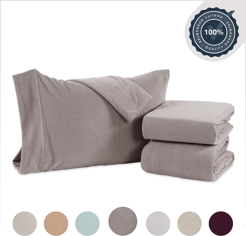 Berkshire Blanket Original Microfleece Set Fleece Sheets, King, Silver Foil