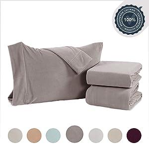 Berkshire Blanket Original Microfleece Set Fleece Sheets, Queen, Silver Foil
