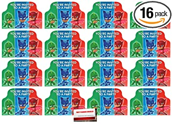 Amazon Com 16 Pack Pj Masks Postcard Style Party Invitations Plus