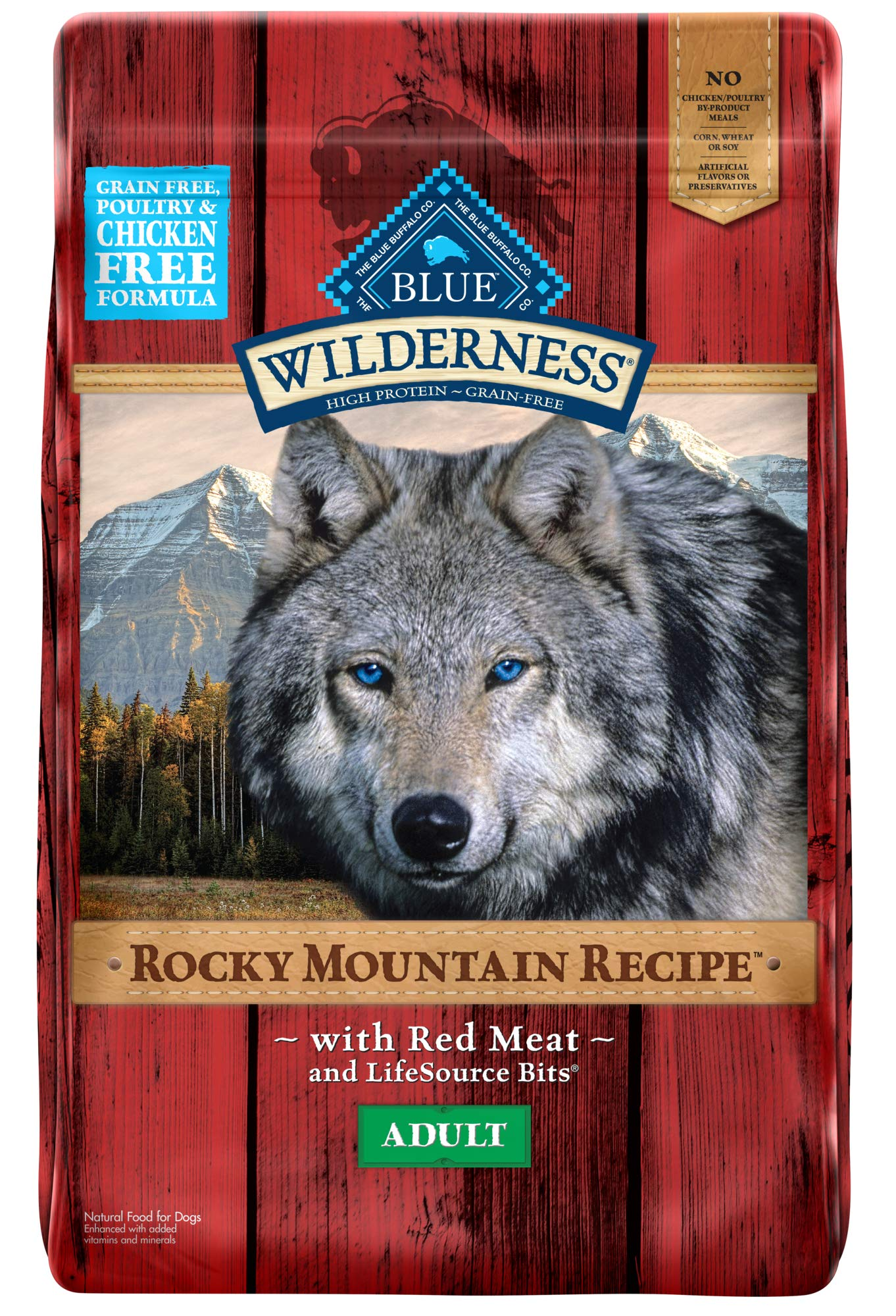 Blue Buffalo Wilderness Rocky Mountain Recipe High Protein Grain Free, Natural Adult Dry Dog Food, Red Meat 22-lb by Blue Buffalo