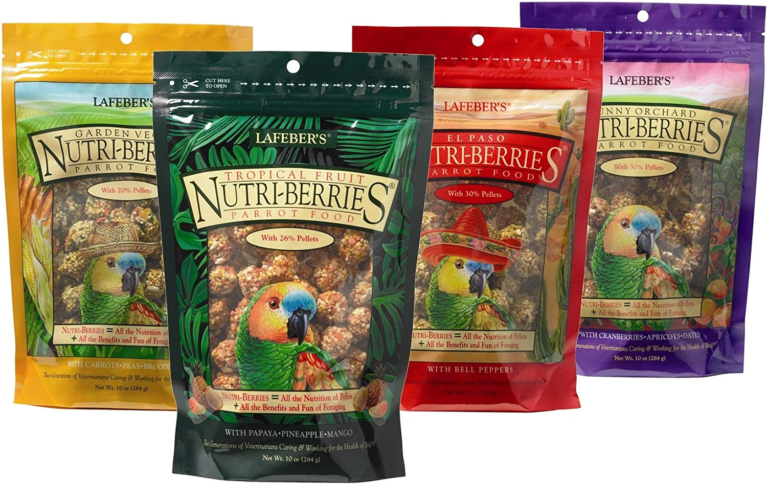 LAFEBER'S 4 Pack Gourmet Nutri-Berries Pet Bird Food Bundle with Tropical Fruit, El Paso, Sunny Orchard, and Garden Veggie for Parrots, 10 oz Each