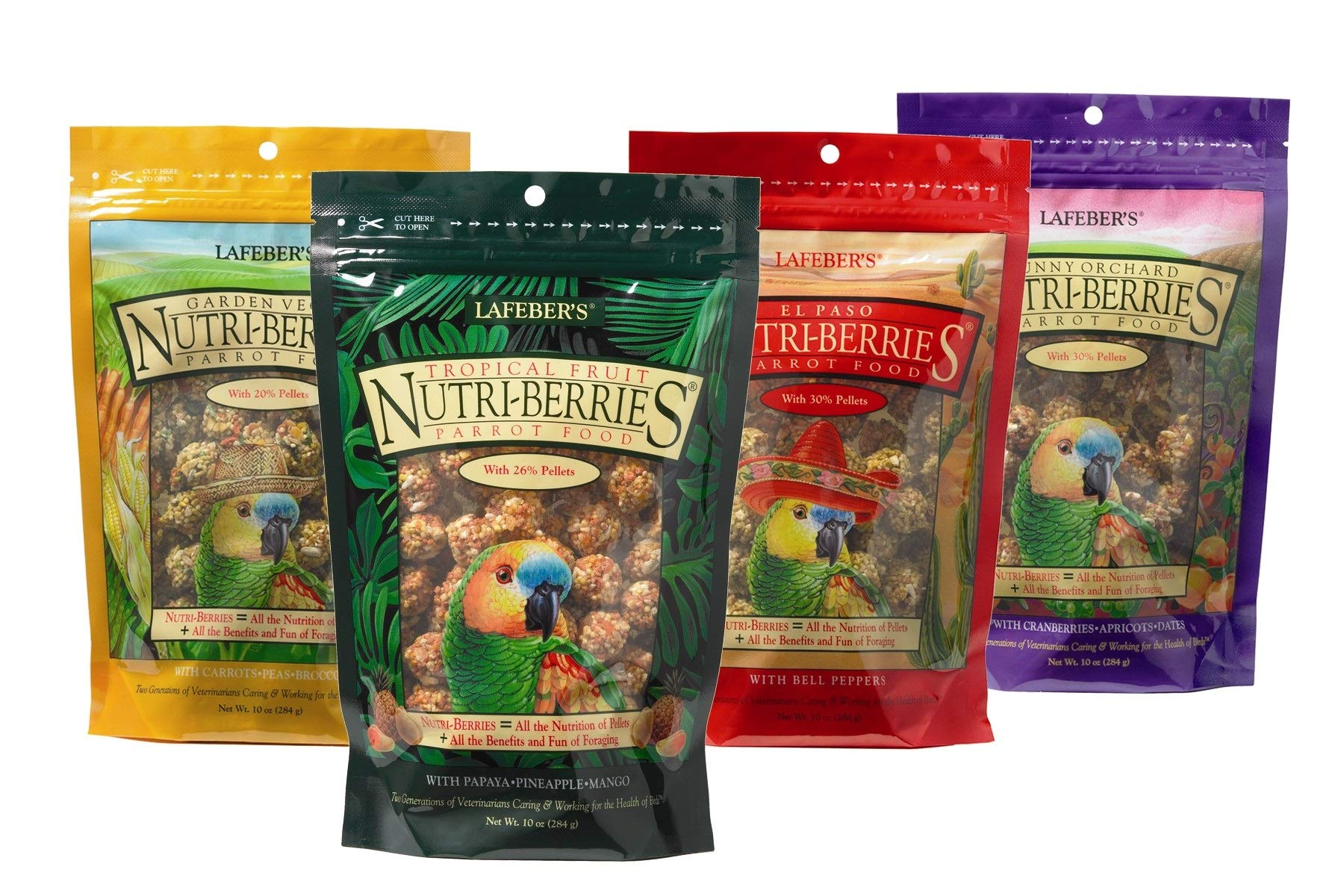 LAFEBER'S Nutri-Berries Pet Bird Food Bundle with Tropical Fruit, El Paso, Sunny Orchard, and Garden Veggie for Parrots, 10 oz Each (4 Items) by LAFEBER'S