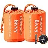 Esky Emergency Sleeping Bag, 2 Packs Ultra Waterproof Lightweight Thermal Bivy Sack, Survival Shelter Blanket Bags with…