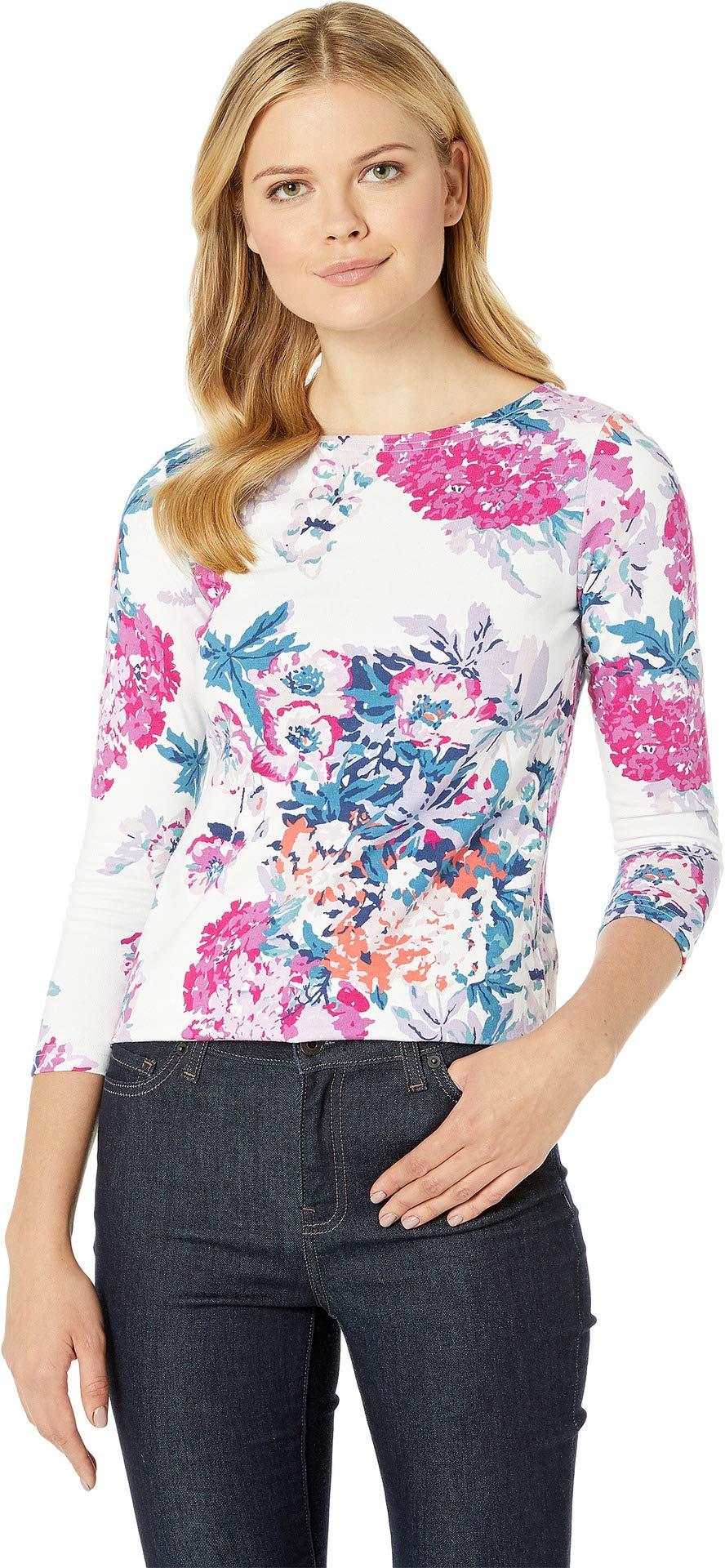 Joules Women's Harbour Print Jersey Top Cream Floral 2