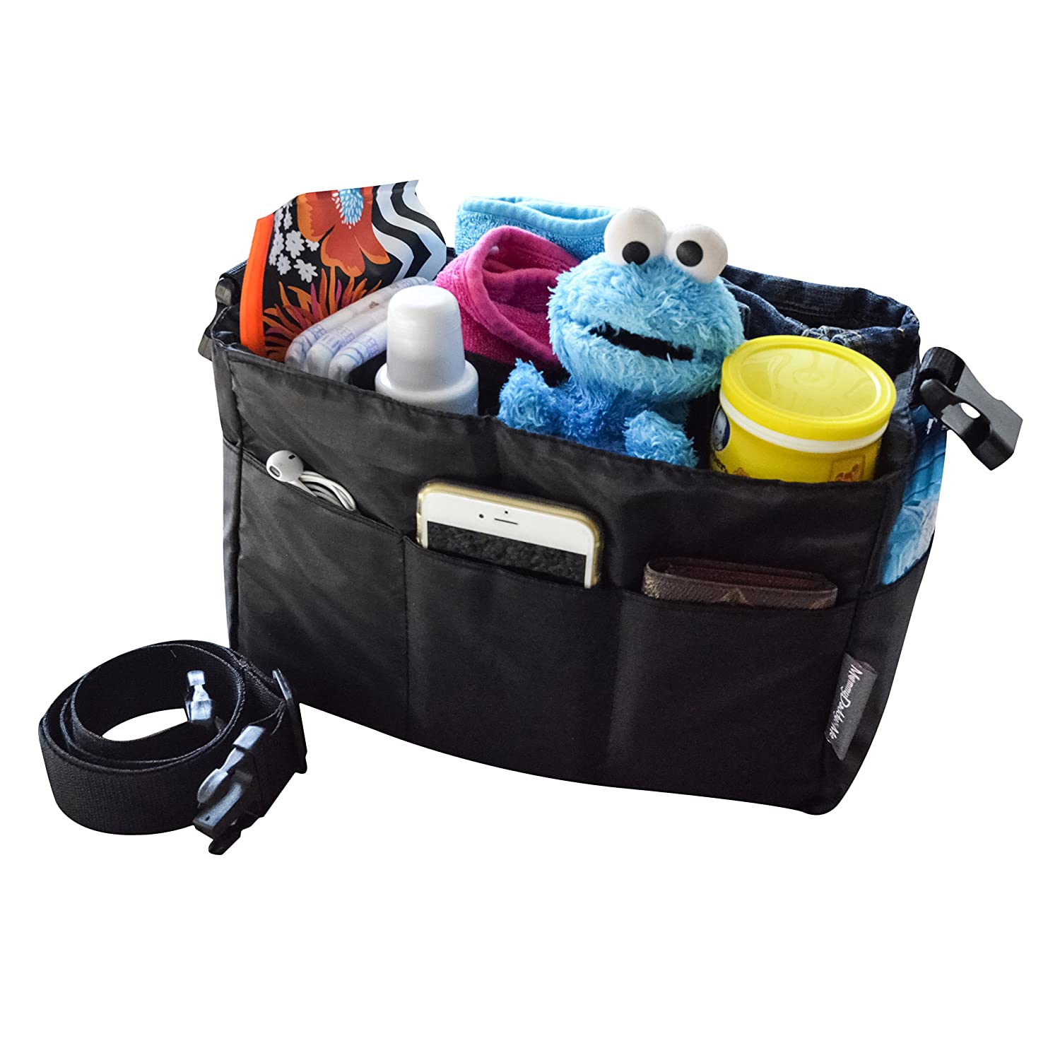 Diaper Bag Insert Organizer For Stylish Moms, Black, 12 Pockets, Turn Your Favorite Tote Bag Into A Trendy Diaper Bag, By Mommy Daddy&Me by Mommy Daddy&Me