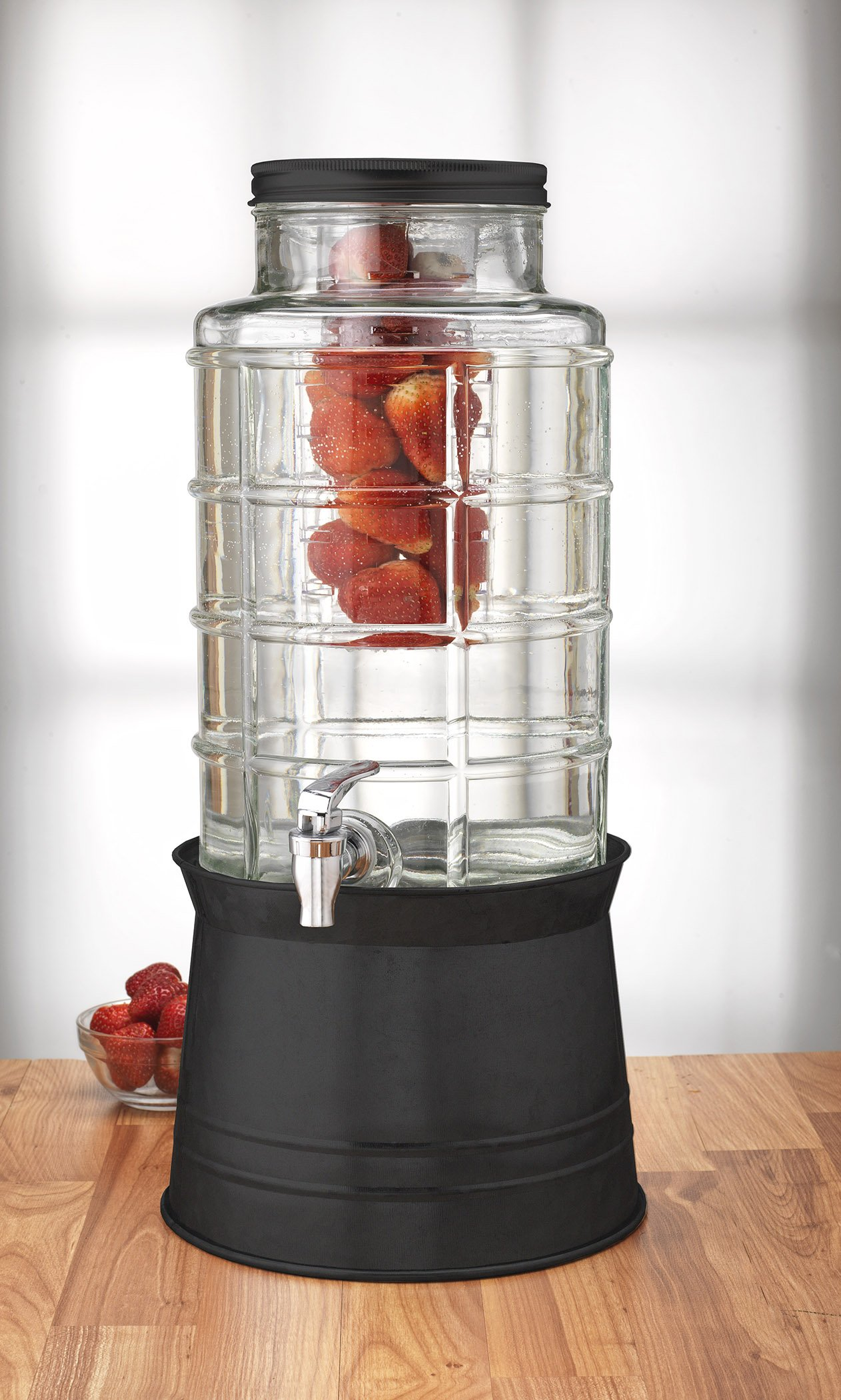 Circleware Big Window Glass Beverage Drink Dispenser with Base Metal Stand Transforms to Ice Bucket, Lid, Fruit Infuser and Ice Insert 2.4 Gallons