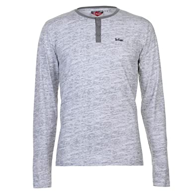 Lee Cooper Mens Stylish Long Sleeve AOP Textured T Shirt Top (Grey Marl,  Small
