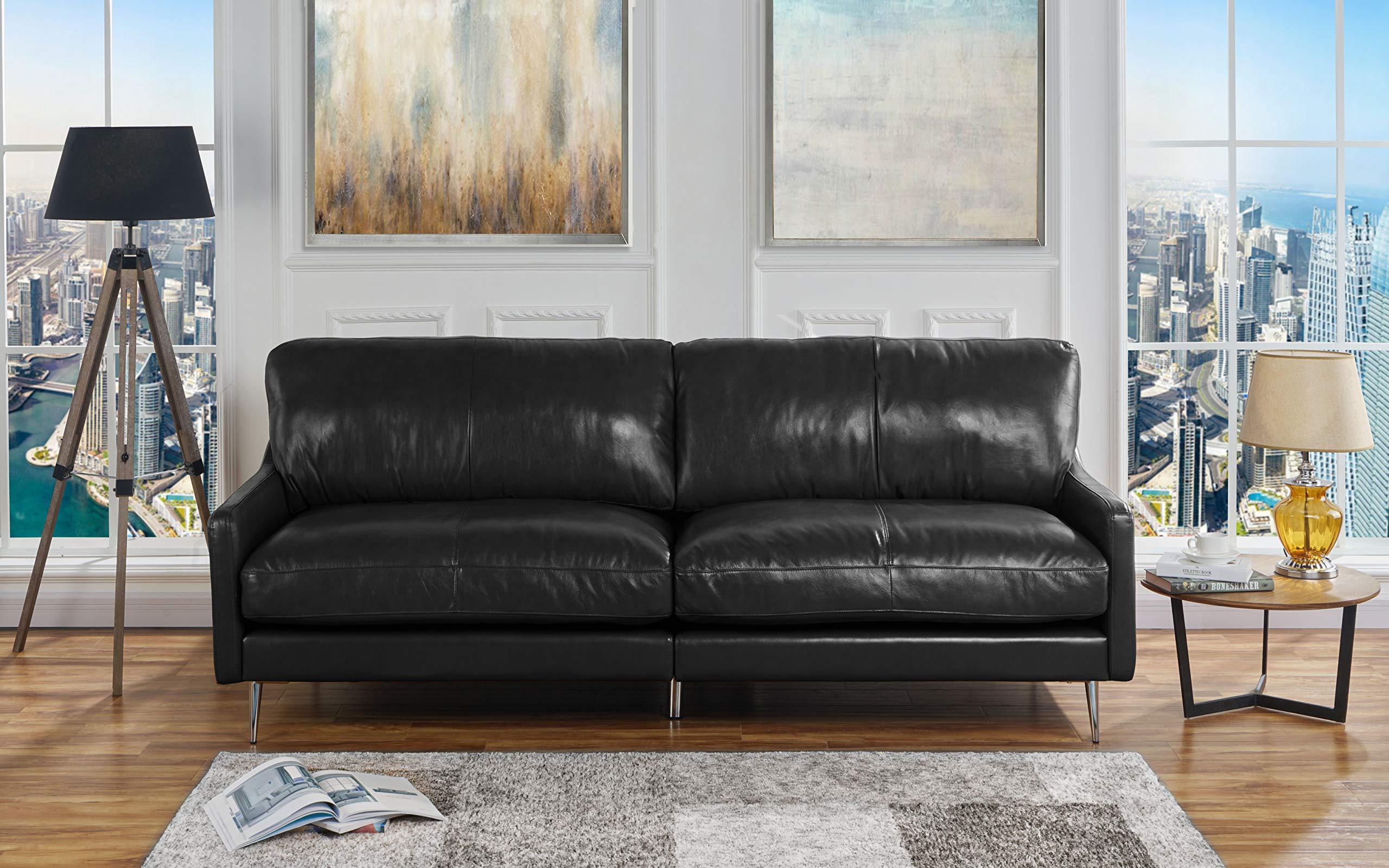 Mid Century Modern Plush Leather Living Room Sofa (Black) by Casa Andrea Milano