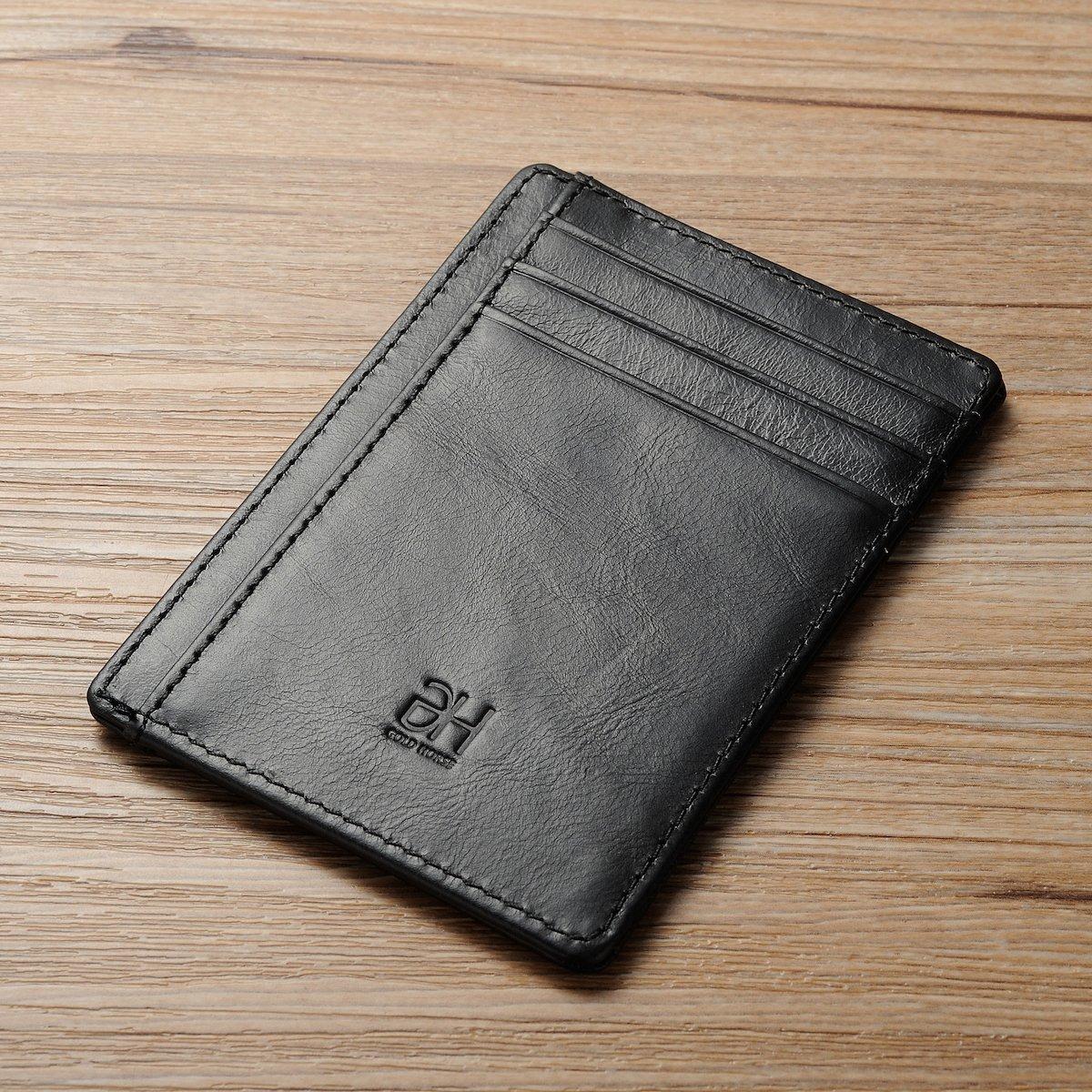 GH GOLD HORSE Slim RFID Blocking Card Holder Minimalist Leather Front Pocket Wallet for Women (Black) by GH GOLD HORSE (Image #7)