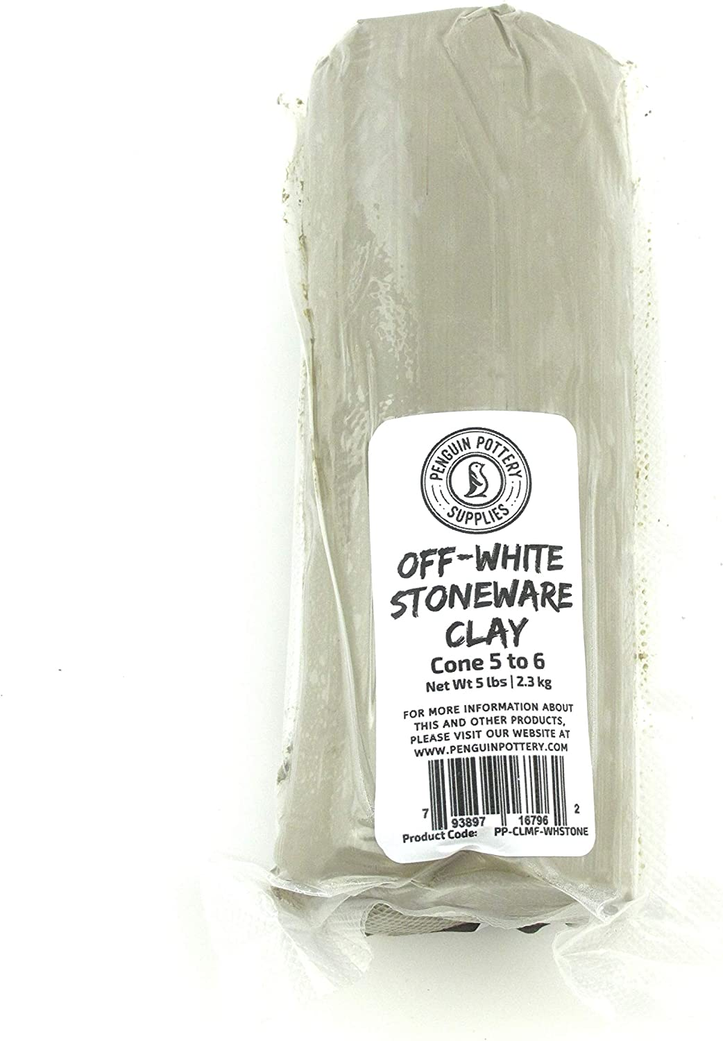 Penguin Pottery - Off-White Stoneware Wet Clay - Mid Fire - Cone 5 to 6-5 lbs - Vacuum Sealed for Freshness