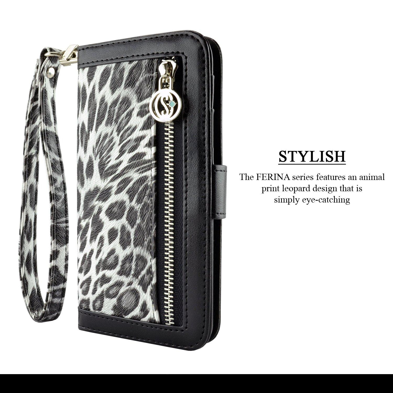 uk availability 43d35 0a025 iPhone 7 Plus Case, caseen FERINA Apple iPhone 7 Plus Wallet Case Cover  Wristlet [Synthetic Leather][Kickstand][Card Pocket] Slim Cash Card Case  Cover ...