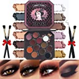 LUXAZA Smoky Eyeshadow Palette Browns 12 Colors Matte & Shimmer with Eyeliner & Brushes,Color-match & Pigmented & Soft…