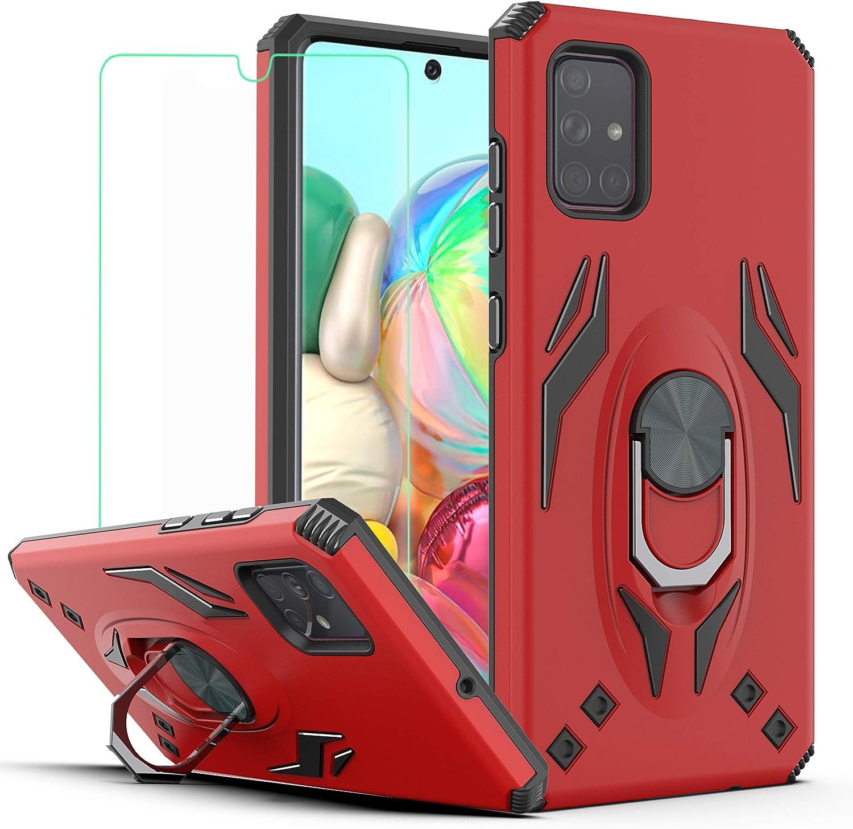 Funda roja con protector de pantalla para Galaxy A71 4G