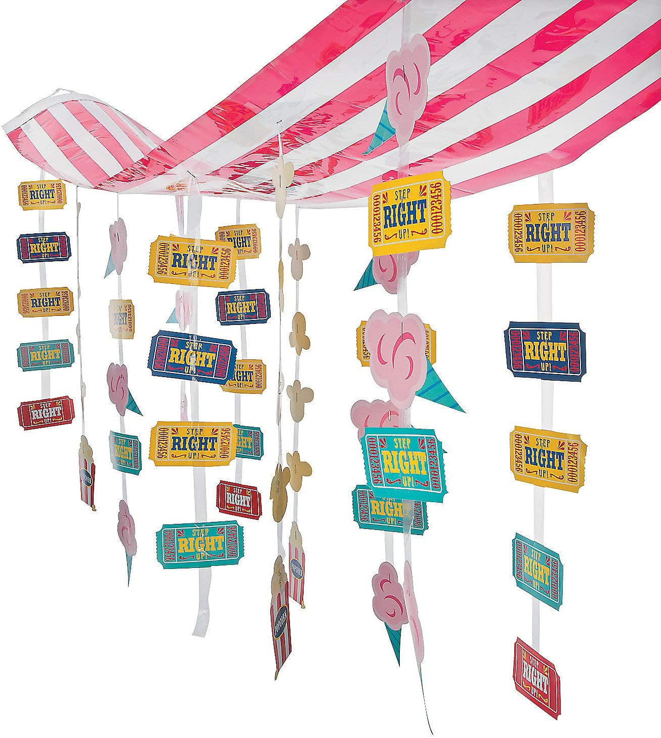 Fun Express Carnival Hanging Ceiling Decorations - 12 feet Long - Hanging Birthday Party Decor