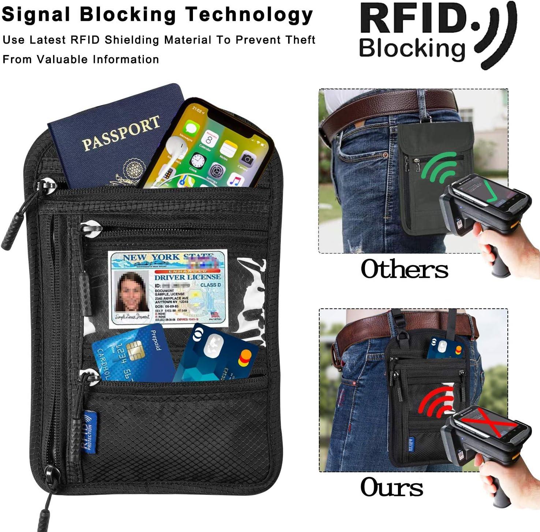 | a amvontz Travel Pouch Neck Wallet: RFID Blocking Hidden Zipper Women Men Passport Holder | Travel Wallets