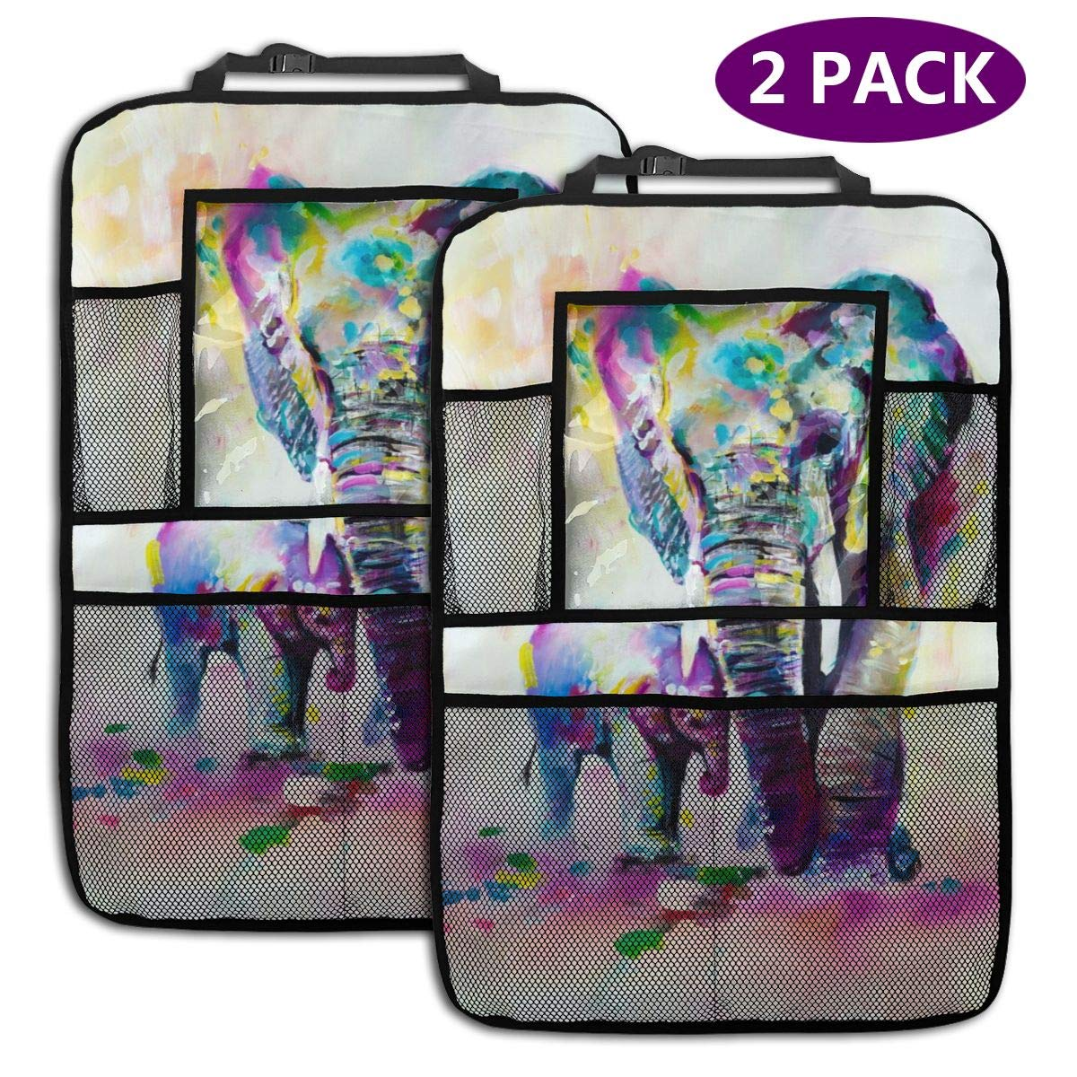 QF6FEICHAN Painted Elephants Car Seat Back Protectors with Storage Pockets Kick Mats Accessories for Kids and Toddlers by QF6FEICHAN