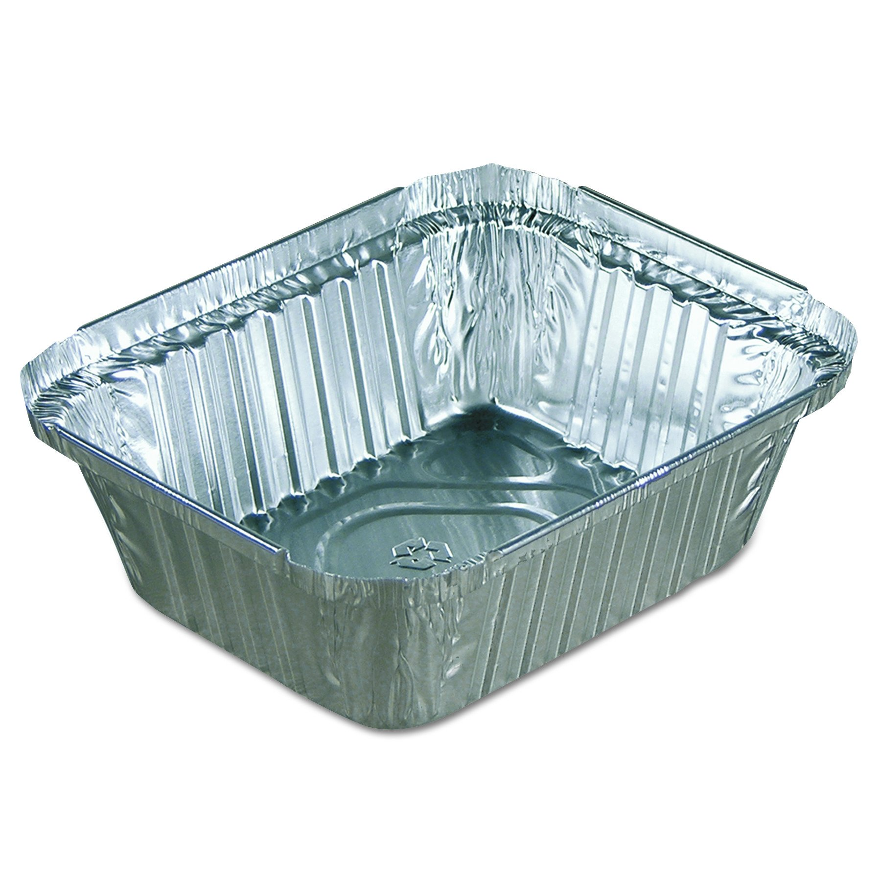 Pactiv Y70530 Oblong Food Pans, 15 oz, 1.67'' Length, 1'' Width, 1.11'' Height, Aluminum (Pack of 1200)