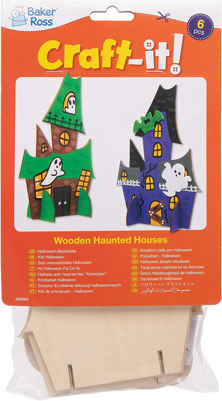 Baker Ross Casas embrujadas de Madera (Pack de 6) Ideales para Manualidades Infantiles de Halloween: Amazon.es: Juguetes y juegos