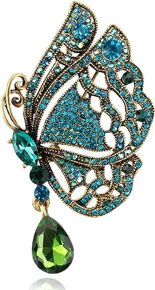 Vintage Leaf Multi-color Crystal Rhinestone Gold-tone Brooch Pin Woman Pendant