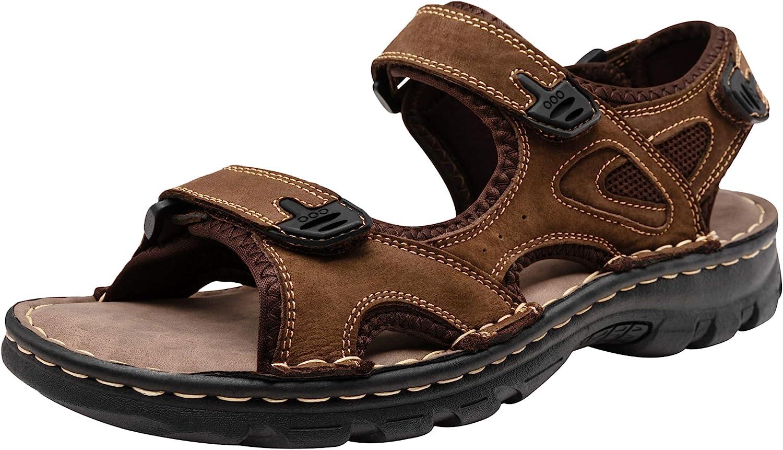 JOUSEN Men's Sandals Leather Open Toe Beach Sandal Outdoor Summer Sport Sandals