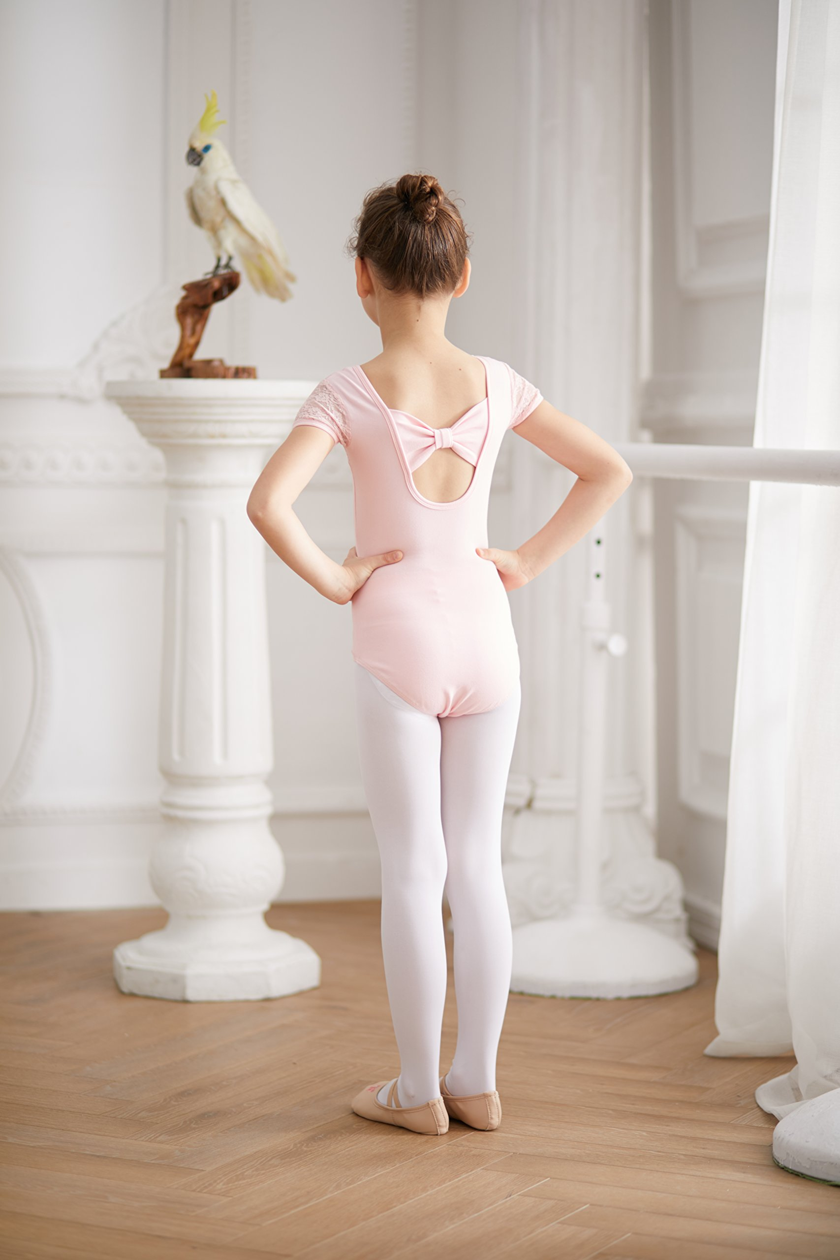 4d09a2eb301c MdnMd Girls  Cap Sleeve Lace Neck Leotard with Bow Back Detail ...
