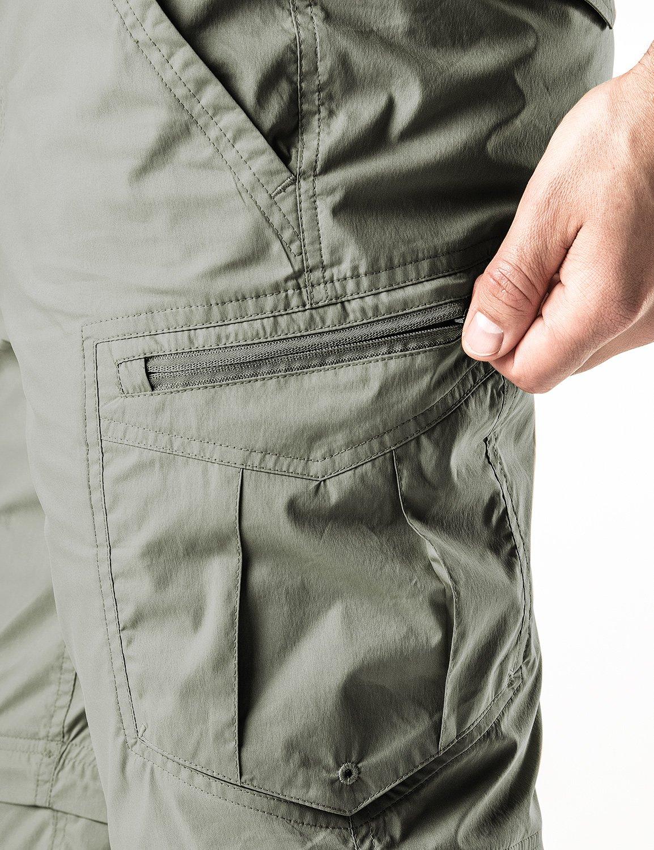 CQR CQ-TXP402-GRN_32W/30L Men's Convertible Pants Zipp Off Stretch Durable UPF 50+ Quick Dry Cargo Shorts Trousers TXP402 by CQR (Image #9)