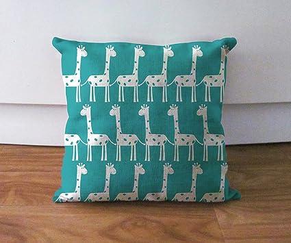 Diseño de estampado de jirafa turquesa funda de almohada y ...