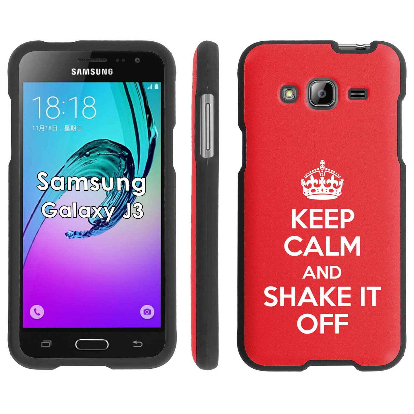 Samsung Galaxy J3 Phone Cover, Keep Calm and Shake it Off - BLACK ...