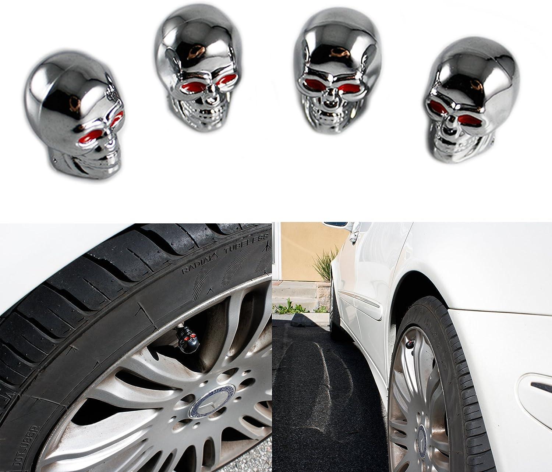 Xotic Tech Silver Skull Style Shape Tires Valve Stem Caps Antirust Copper Core Universal for Motorcycle Bike Car Tire Wheel
