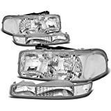 For GMC Sierra/Yukon GMT800 4Pcs Chrome Housing Clear Corner Headlight+Bumper Light