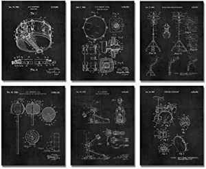 Set of 6 Chalkboard Drum Patent Prints 8x10 Drummer Room Decor Music Studio Poster Gifts for Percussionist Snare UNFRAMED