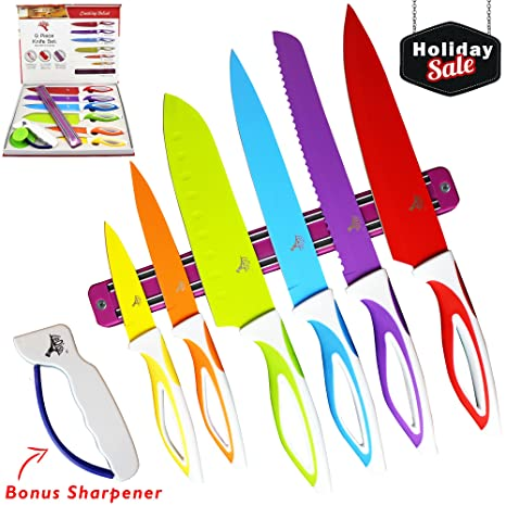 Amazoncom Colorful Kitchen Knife Set Sharp Cooking Cutting Knives