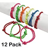 Rope Friendship Bracelets - Pack Of 12 – Fits Most Wrists - Assorted Colors Nylon Friendship Bracelets - For Kids and Adults Beauty, Fashion, Great Party Favors, Gift, Prize – By Kidsco